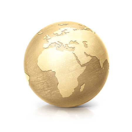 pinchbeck: brass globe 3D illustration europe and africa map on white background Stock Photo