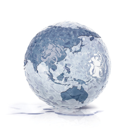 thaw: ice globe 3D illustration asia and australia map on white background