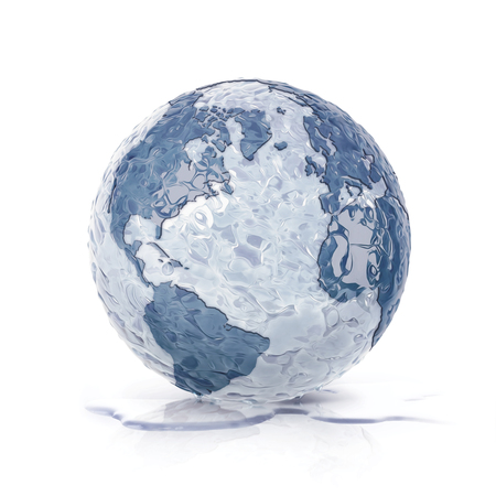 thaw: ice globe 3D illustration north and south america map on white background