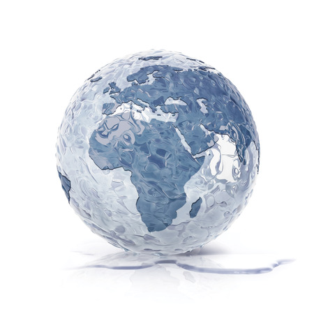 thaw: ice globe 3D illustration europe and africa map on white background