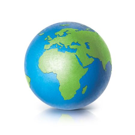 Farbkugel 3D-Illustration Europa und Afrika Karte auf weißem Hintergrund Standard-Bild - 65588996