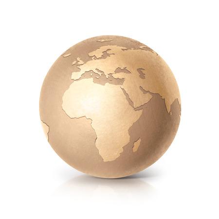 golden globe: Golden globe 3D illustration europe and africa map on white background