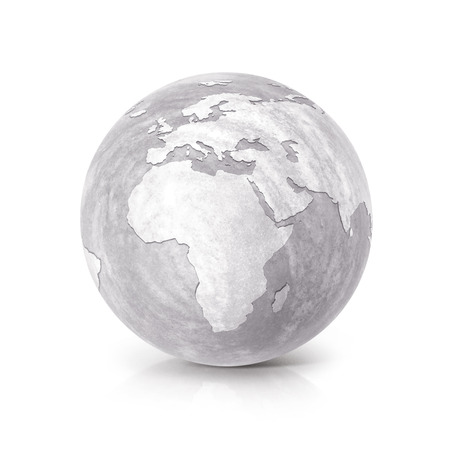 hard crust: Cement globe 3D illustration europe and africa map on white background