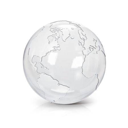 Heldere glazen bol 3D illustratie Noord- en Zuid-Amerika kaart op witte achtergrond Stockfoto - 65589003