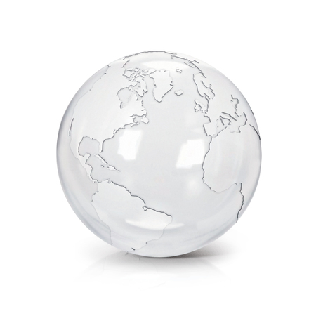 Clear glass globe 3D illustration North and South America map on white background