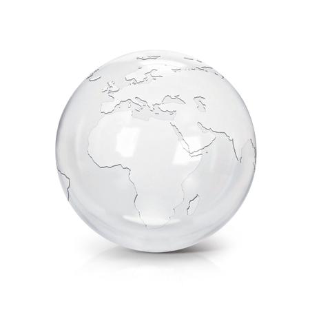 Heldere glazen bol 3D illustratie europa en afrika kaart op witte achtergrond Stockfoto