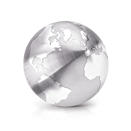 stainless: Stainless globe 3D illustration North and South America map on white background