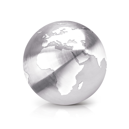Stainless globe 3D illustration europe and africa map on white background