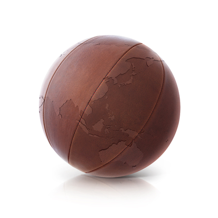 buff: Leather globe 3D illustration Asia & Australia map on white background