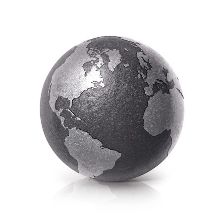 Black iron globe 3D illustration North and South America map on white background