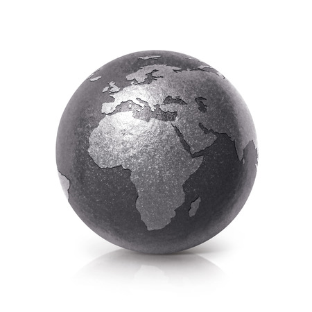 wood carving 3d: Black iron globe 3D illustration europe and africa map on white background