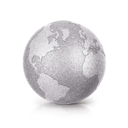 Silver Glitter globe 3D illustration North and South America map on white background