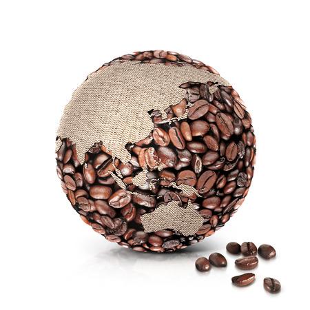 Kaffee Welt 3D Abbildung Asien und Australien Karte auf weißem Hintergrund Standard-Bild - 68966663