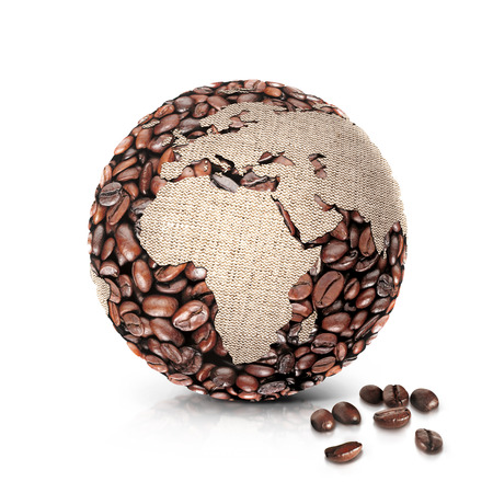 coffee world 3D illustration europe and africa map on white background Standard-Bild