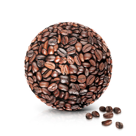 raw materials: coffee world 3D illustration on white background