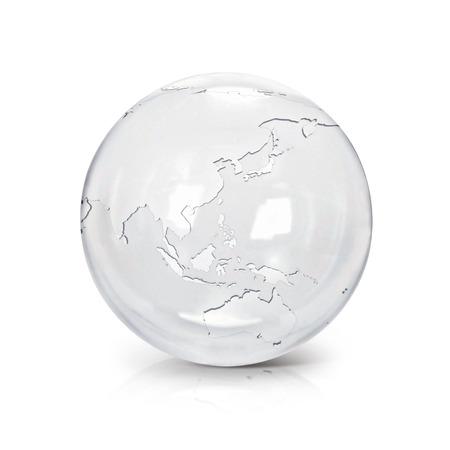 Heldere glazen bol 3D illustratie Azië en Australië kaart op een witte achtergrond