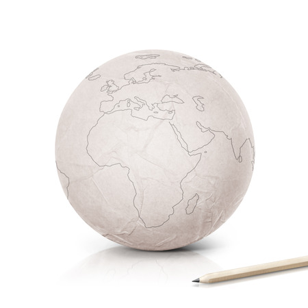 lapiz y papel: Stroke Europe map on paper globe on white background