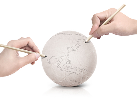 two stroke: Two hand stroke drawing Asia map on paper ball on white background