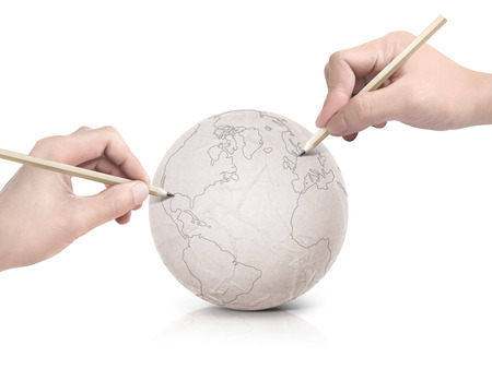 two stroke: Two hand stroke drawing America map on paper ball on white background Stock Photo