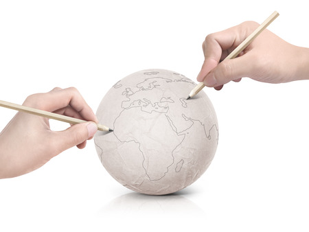 two stroke: Two hand stroke drawing Europe map on paper ball on white background