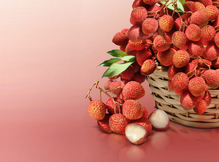 Lychee on red solid background