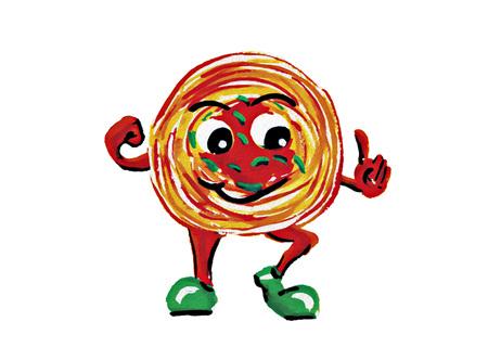 Mascot Spaghetti on white background