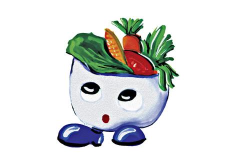 Mascot Salad on white background