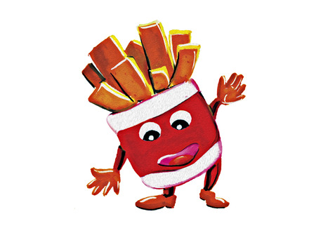 Mascot French Fries on white background