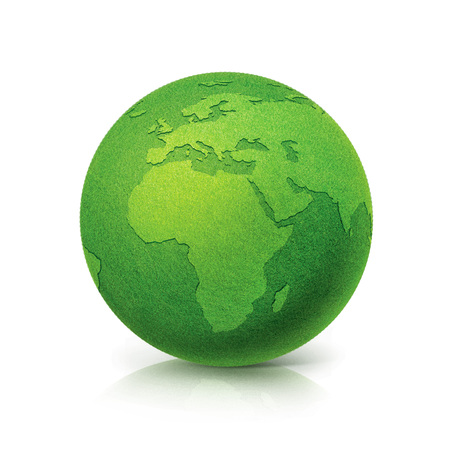 ECO Green globe Europe and Africa map on white background Standard-Bild