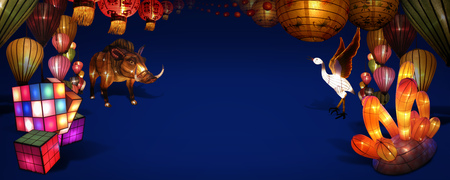 Decorate the variety lanterns on the blue background