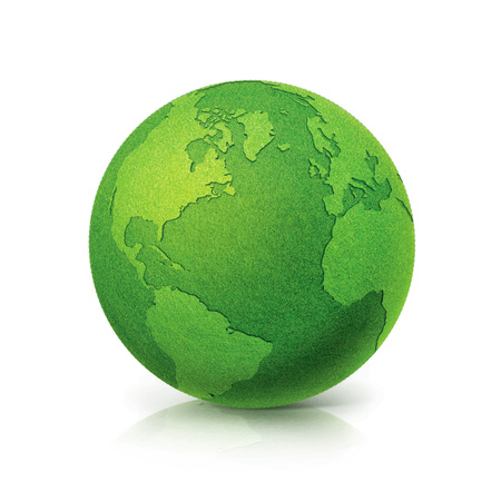 ECO Green globe North and South America map on white background