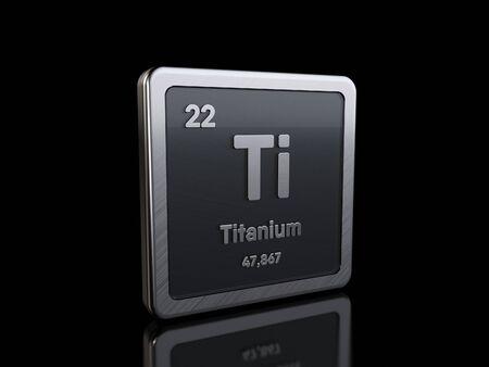 Titane Ti, symbole d'élément de la série du tableau périodique.