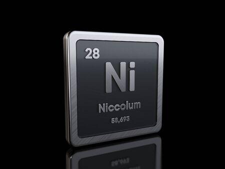 Níquel Ni, símbolo del elemento de la serie de tablas periódicas. Representación 3D aislada sobre fondo negro