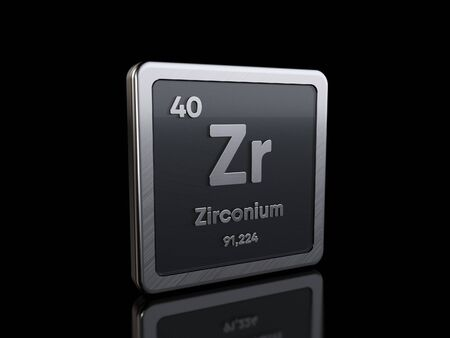 Zirconium Zr, element symbol from periodic table series. 3D rendering isolated on black background Stock fotó