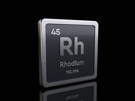 Rhodium Rh, element symbol from periodic table series. 3D rendering isolated on black background