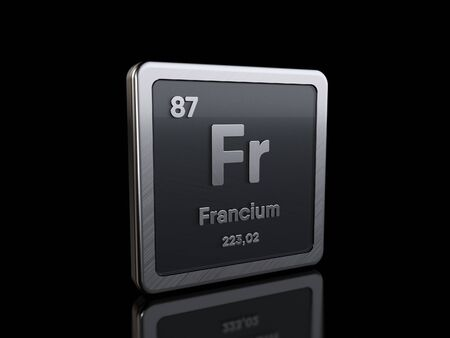Francium Fr, element symbol from periodic table series. 3D rendering isolated on black background