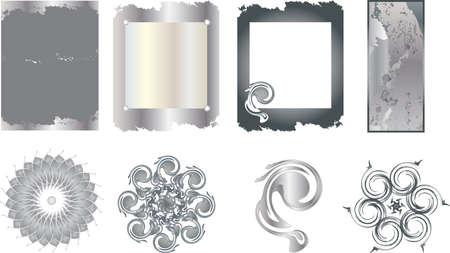 The metal texture and decoration items Vector