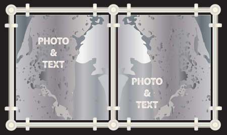 A set of stylish metal frames for processing and decorating photos and pictures Vector
