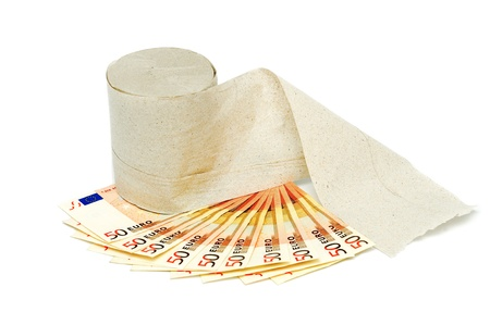 Euro currency and a roll of toilet paper photo