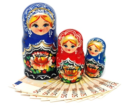 Euro currency against the Russian National Toy photo