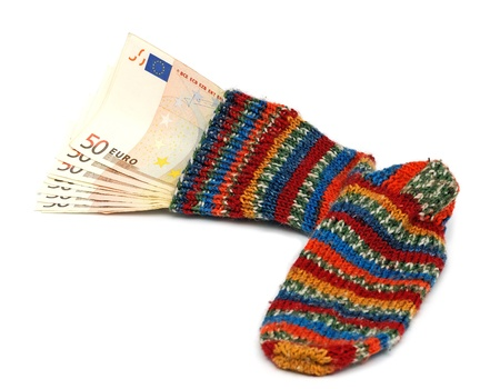 the best place to store money, in the socks photo