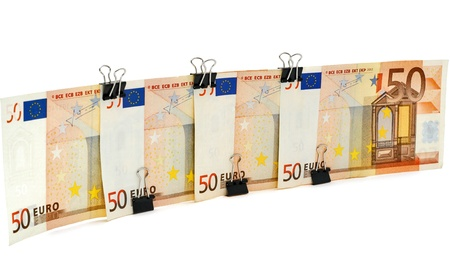 Euro wall, fence, from banknotes Stock Photo - 12346673
