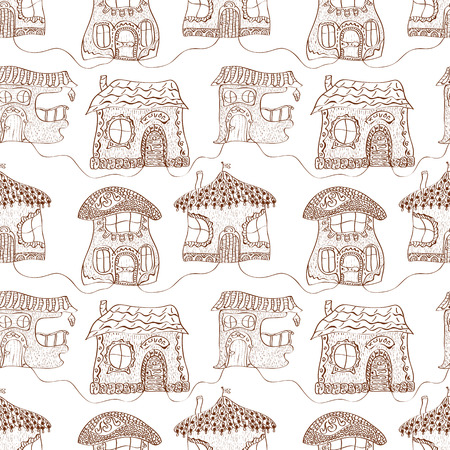 Seamless monochrome pattern of fabulous childrens houses Vector