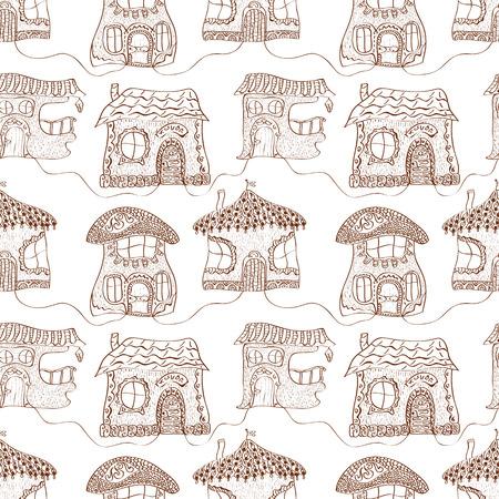 vile: Seamless monochrome pattern of fabulous childrens houses Illustration