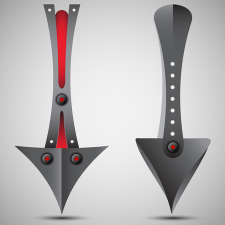 black white red: A set of metal arrows. Black white red modern.