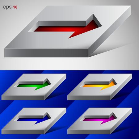 recess: Set of 3D arrows in a recess