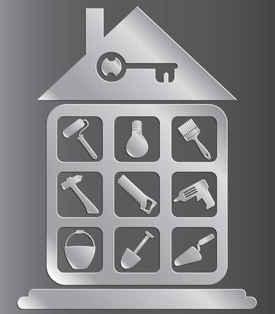 Reihe von Icons von Werkzeugen für den Hausbau oder Reparatur Vektorgrafik