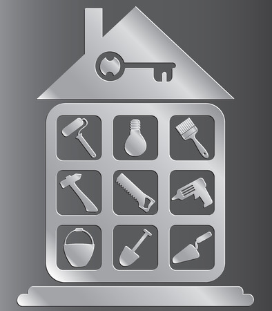 Set of icons of tools for house construction or repair