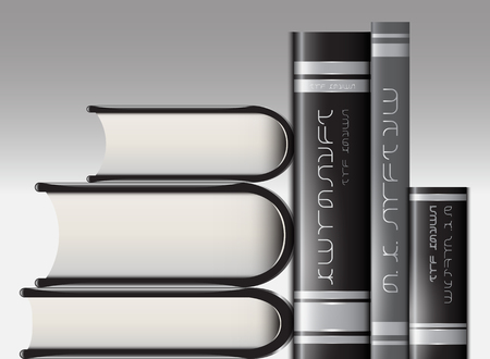 cognizance: Vector image of a set of books in the two profiles