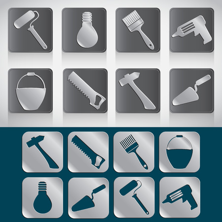 house construction: Set of icons of tools for house construction or repair